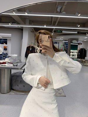 Perfect.韓國專櫃~LIN CHAO ZHANG 名媛滿天星 毛衣襯衫半身裙外套釘鉆套裝女