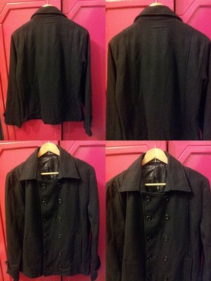 【Decide】男 黑色仿毛料 雙排釦外套˙38胸