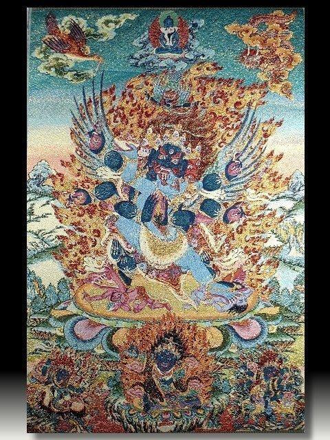 【 金王記拍寶網 】S648 中國西藏藏密佛像刺繡唐卡 金剛 密宗唐卡一張 完美罕見~