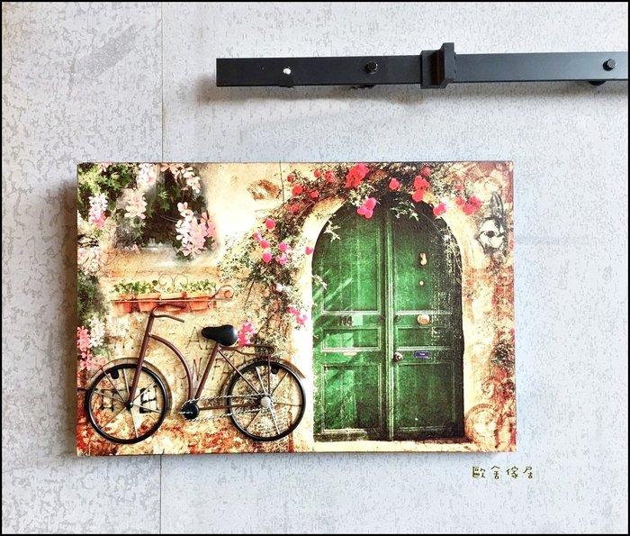 立體無框畫 40*60綠色大門腳踏車街道花草壁畫 仿古田園壁飾 掛畫複製畫變電箱總電源牆面室內設計鄉村風壁飾【歐舍家居】