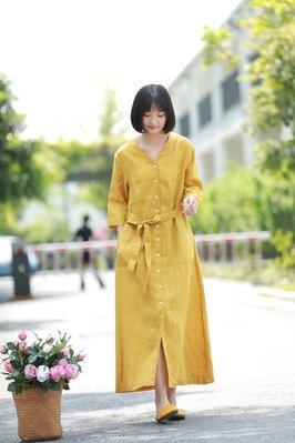亞麻V領七分袖排扣開衫繫帶文雅休閒連衣裙(老銀屋)