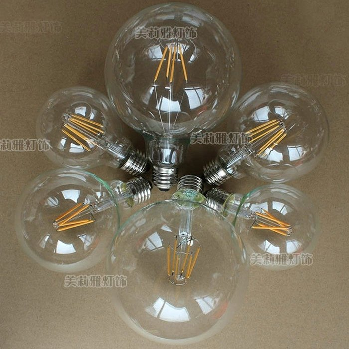5Cgo【權宇】愛迪生LED龍珠燈泡 110V 220V G80 G95 G125 4W 6W 8W 大圓球燈絲燈