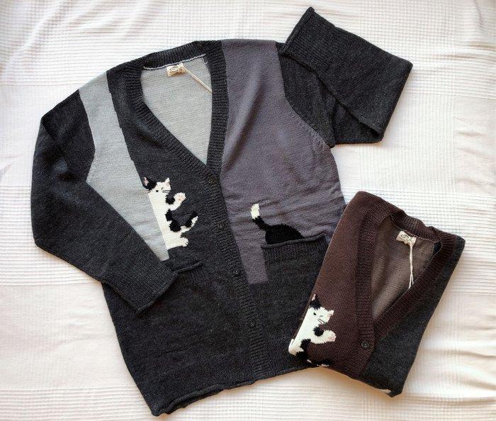 日本卡拉貓~質感拼色貓咪毛線外套