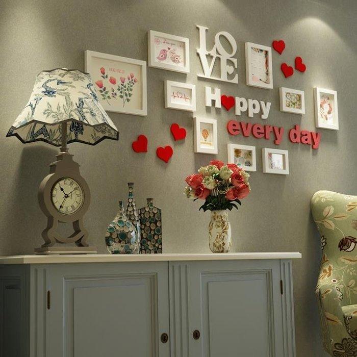 歐式照片牆客廳相片牆臥室實木相框掛牆創意組合結婚禮物xw