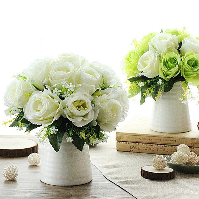 假花瓶 假花 仿真花 花器 花盆 玻璃 年花愛家仿真玫瑰束套裝花藝家居假花裝飾品絹花客廳餐桌盆栽擺件干花