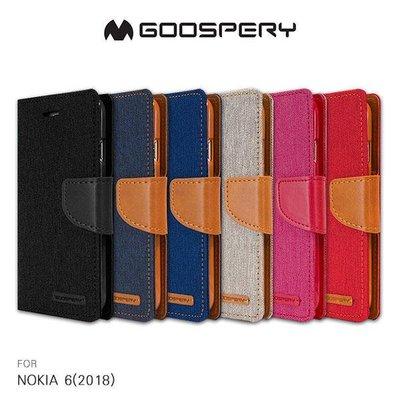 --庫米--GOOSPERY NOKIA 6(2018) CANVAS 網布皮套 磁扣 可插卡 保護套