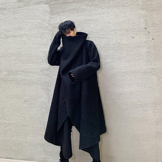 FINDSENSE 2019 秋冬上新 G19  暗黑先鋒個性潮流垂領羊毛風衣毛呢大衣男裝百搭寬鬆休閒外套
