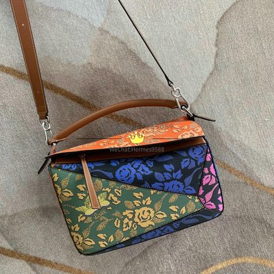 Loewe Puzzle Patchwork Bag Multicolor 花卉絲印多色拼幾何包 29x19.5x14