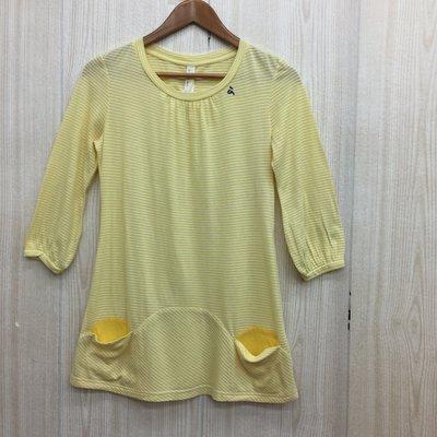 【愛莎&嵐】a la sha 女 鵝黃色雙袋條紋七分袖上衣 / S 1070912