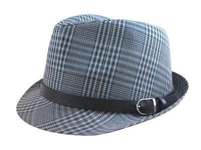 ☆二鹿帽飾☆ 秋冬限定/ 男帽女帽 -流行 西裝布(大方格紋)皮帶款.緞帶設計爵士帽-紳士帽-灰色