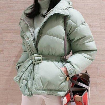 羽絨外套棉襖棉質外套 妳值得一件好外套 法式穿搭立領加厚保暖繫腰帶修身外套 艾爾莎【TAK8116】