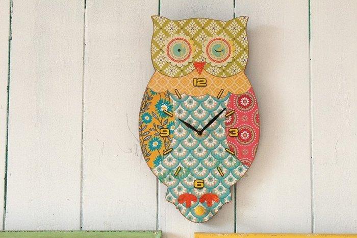蘇菲亞精品傢飾~南法鄉村風木質貓頭鷹掛鐘掛勾壁飾/小孩房佈置