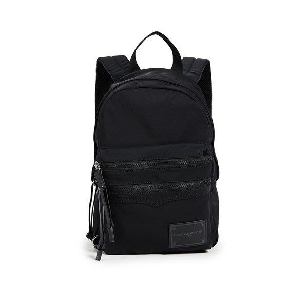 【Rebecca minkoff】雙肩前層雙拉鍊後背包 黑色(超輕量 尼龍 後背包 黑色)
