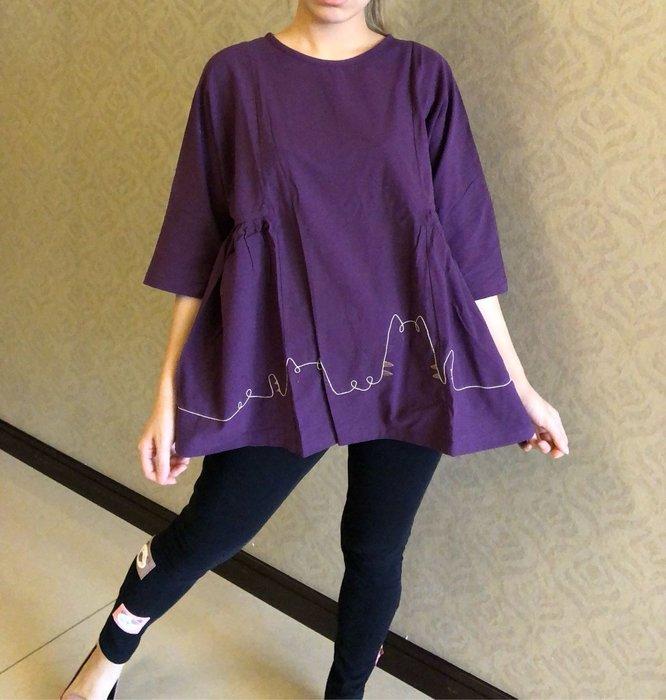 日本卡拉貓~棉線貓咪七分袖上衣L