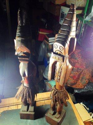 年終出清/早期外銷原住民木雕人偶男女一對/懷舊收藏/不含大同寶寶