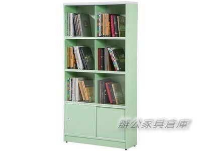 【M1002-16】塑鋼拉門書櫃(BK-238A)(綠色)(附玻璃6片)~OA屏風免費到府現場丈量規劃 新北市