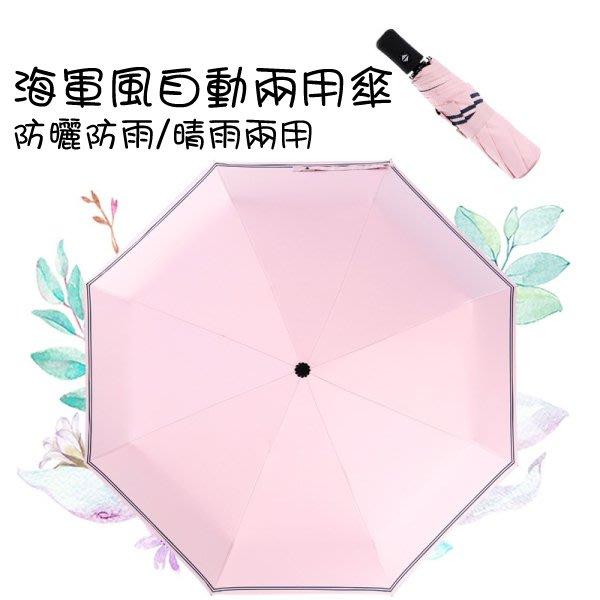 海軍風超輕UV自動傘 雨傘 雨具 超輕巧 抗UV 防潑水 輕量化 易攜帶 三折 摺疊傘 折傘 現+預