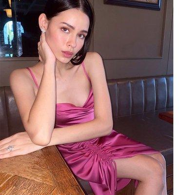包臀裙gusty 歐美性感綁帶露背包臀裙 ins潮款氣質薄綢緞抽繩設計連衣裙