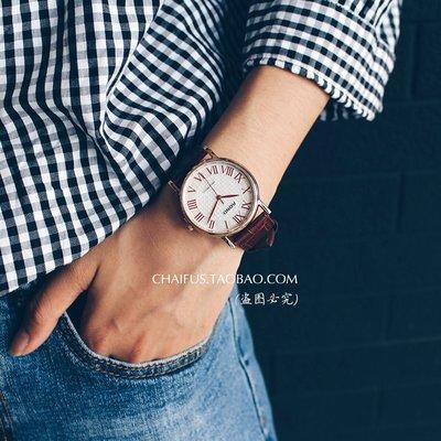 DS_08網紅時尚阿柴A89《喜帖街》文藝復古優雅微紅錶針立體羅馬錶盤情侶款手錶