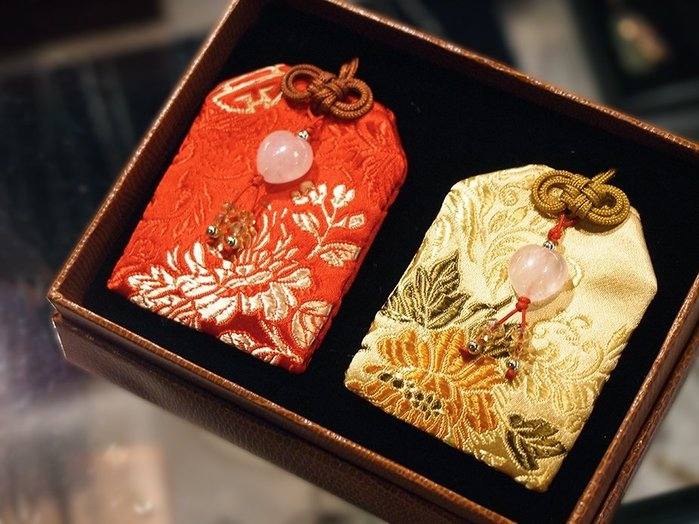 我的心撲通撲通 / 大心型粉晶中吉祥福袋一組兩件 / 禮盒組 【ROSE手工飾品】