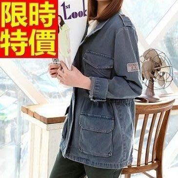 軍裝外套 中長款女夾克-好搭隨性拼接翻領直筒版64c45[獨家進口][米蘭精品]