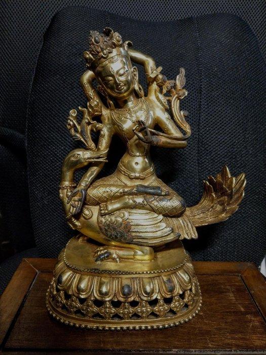 老銅雕◎銅鎏金 西藏度母  西藏四臂觀音