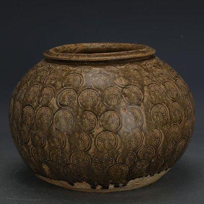 ㊣姥姥的寶藏㊣ 戰國越窯原始青瓷刻銅器紋罐子  出土文物古瓷器手工古玩古董收藏