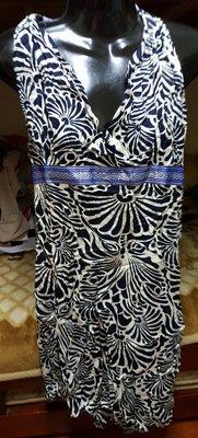 全新藍色渡假風繞頸綁帶洋裝