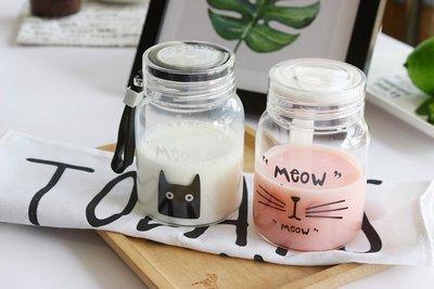 貓咪 玻璃杯 創意便攜水杯 隨手杯 可愛 提繩 茶杯 韓版 杯子 禮品 玻璃瓶 水瓶 水壺 喵星人 貓 隨手瓶