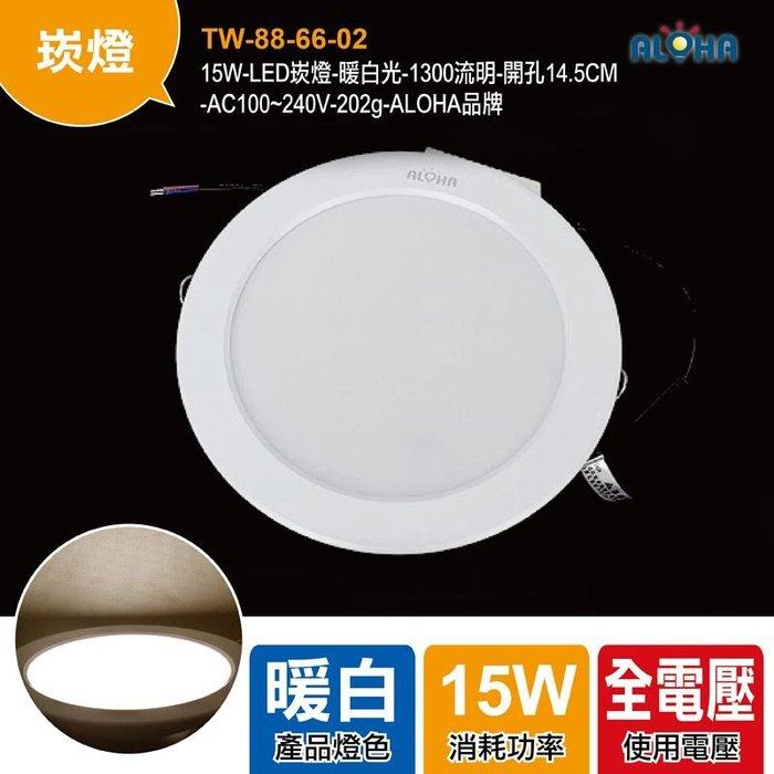 買LED就找阿囉哈【TW-88-66-02】15W-LED崁燈-暖白光-1300流明-開孔14.5CM/燈泡/崁燈
