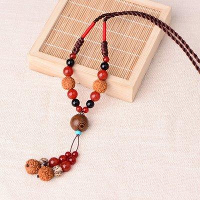 MAMAmi古店 民族風復古毛衣鍊長款項鍊 紅瑪瑙菩提吊墜衣服配飾掛件 秋冬