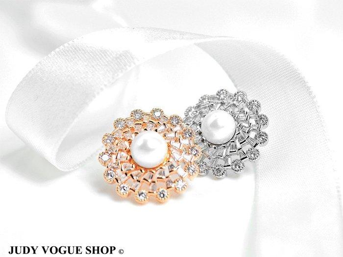 韓國 耳環 珍珠繁花耳環 耳針 氣質出眾 施華洛世奇 共兩色 JUDY VOGUE SHOP【JES-0019】