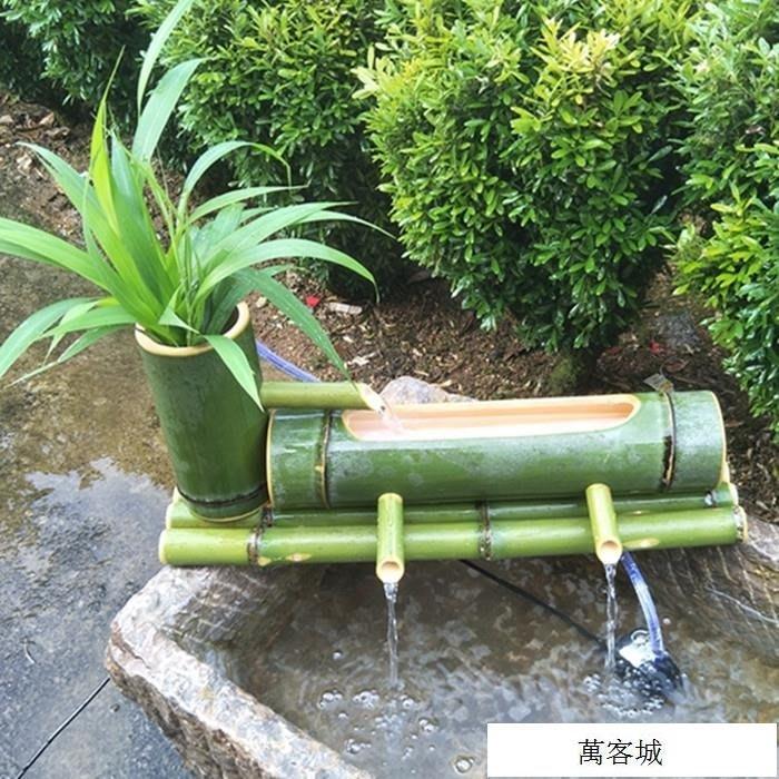 別墅庭院造景招財擺件 竹流水石槽魚缸水池加濕過濾器竹子流水器