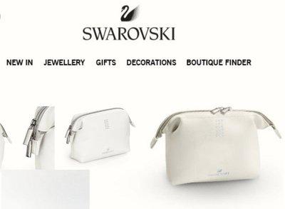 SWAROVSKI 施華洛世奇 水晶鑽 白色 化妝包 手拿包 美妝包