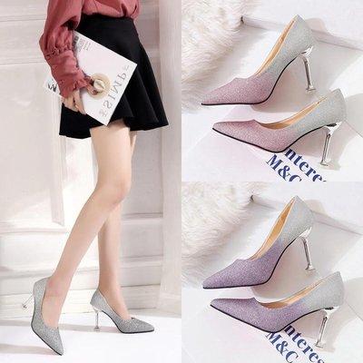 高跟鞋 新娘鞋水晶鞋婚鞋少女銀色高跟鞋細跟宴會百搭配禮服伴娘