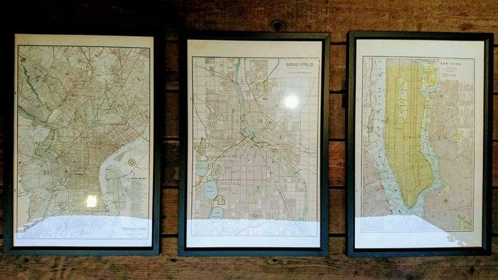 Vintage Americana。復古事 美國古董 紐約 費城 明尼阿玻利斯 城市 街道圖 復古 地圖 收藏