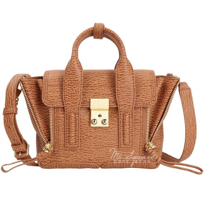 米蘭廣場 3.1 Phillip Lim Borsa Pashli木紋牛皮兩用提包(Mini/棕色)1640047-B3