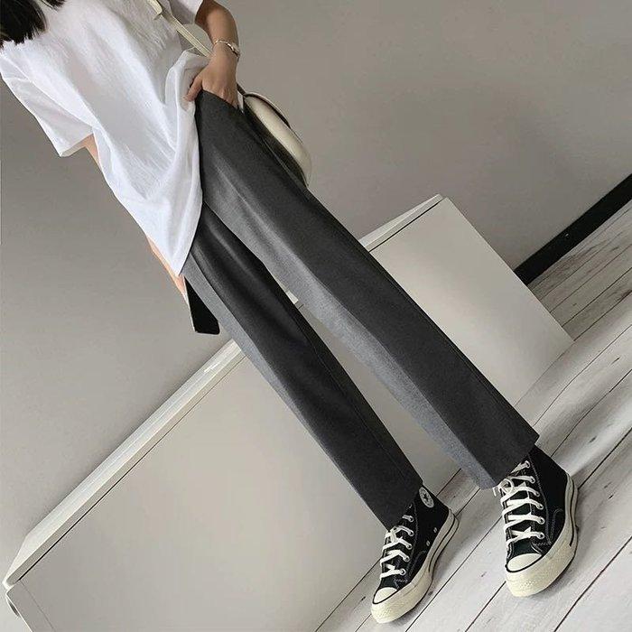 三色-顯瘦顯腿長寬鬆垂感直筒休閒九分西裝褲長褲另有星巴克毛毯日韓可愛潮襪