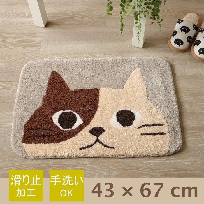 【貓下僕同盟】日本貓雜貨 可愛貓臉浴室玄關絨毛地墊 厚底保暖腳踏墊 室內止滑地墊 43x67cm