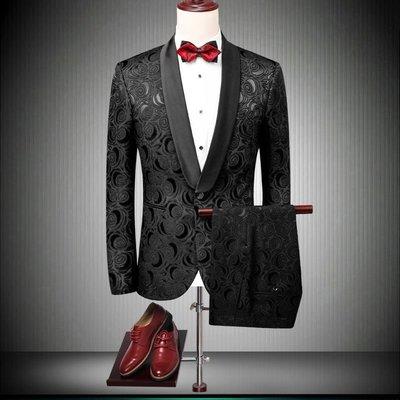 外貿風西裝兩件套48-60【依在風尚】新款歐美風男裝修身西服套裝時尚韓版花西服禮服套裝結婚外套兩件套HEYS.597
