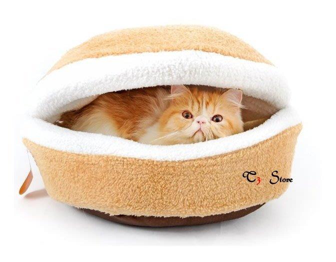【T3】大銅鑼燒貓窩🐱 高品質厚實羊羔絨 漢堡貓床 可拆 狗窩 狗床 漢堡 貓窩 銅鑼燒 喵星人寵物窩【HH15】