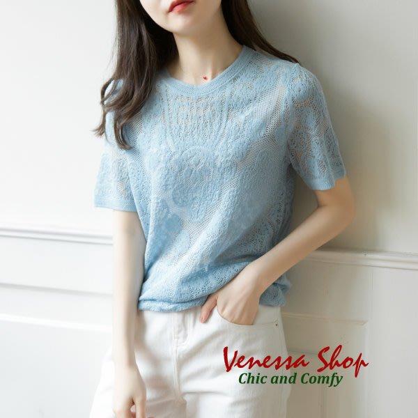 歐單 新款 隱約的美感 唯美精緻鏤空緹花 舒適涼爽 微寬鬆短袖針織衫上衣 三色 (K783) 特價