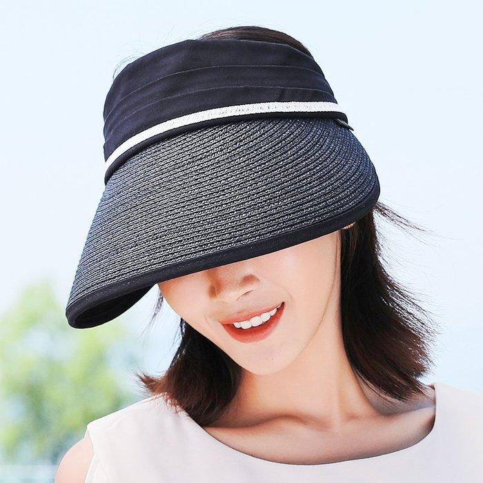 預售款-LKQJD-帽子女夏天出游韓版防曬百搭無頂遮陽可折疊防紫外線空頂太陽帽子
