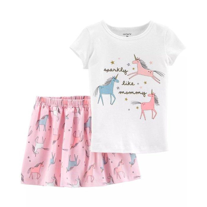 【Carter's】CS女童2件組馬白T+粉裙 F03191016-33