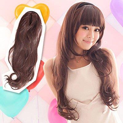 ☆雙兒網☆露出『額頭』耐熱纖維半罩式【MW007】髮箍式-自然系浪漫微捲長髮
