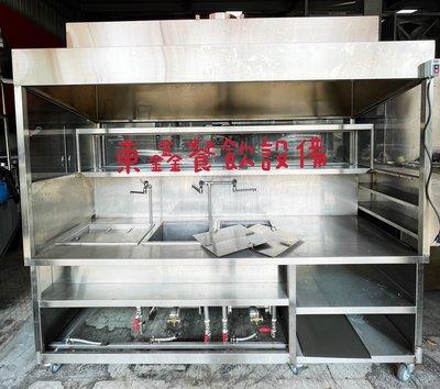 中古 二手 2手 煮麵車台 訂製攤車 白鐵煙罩車台 拉麵攤車/有抽風馬達1HP