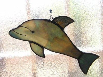 ***豬豬姨陶屋~海豚~鑲嵌玻璃~~掛飾~Dolphin Stained Glass Ornament~
