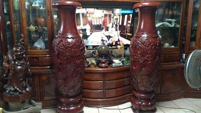 超大整顆/無拼接/桃花芯木/雕刻花瓶一對/單瓶高151公分腰圍134公分重量70公斤/全館商品滿5件或滿6000元免運費