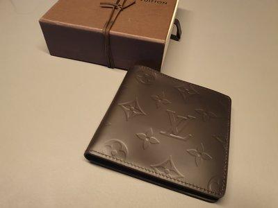 Louis Vuitton LV 短夾 男 深咖啡色 真皮 絕版新品 印花 2004年款 經典 扣 拉鍊
