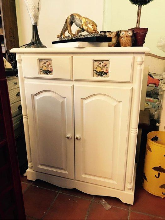 洗白實木二抽鞋櫃